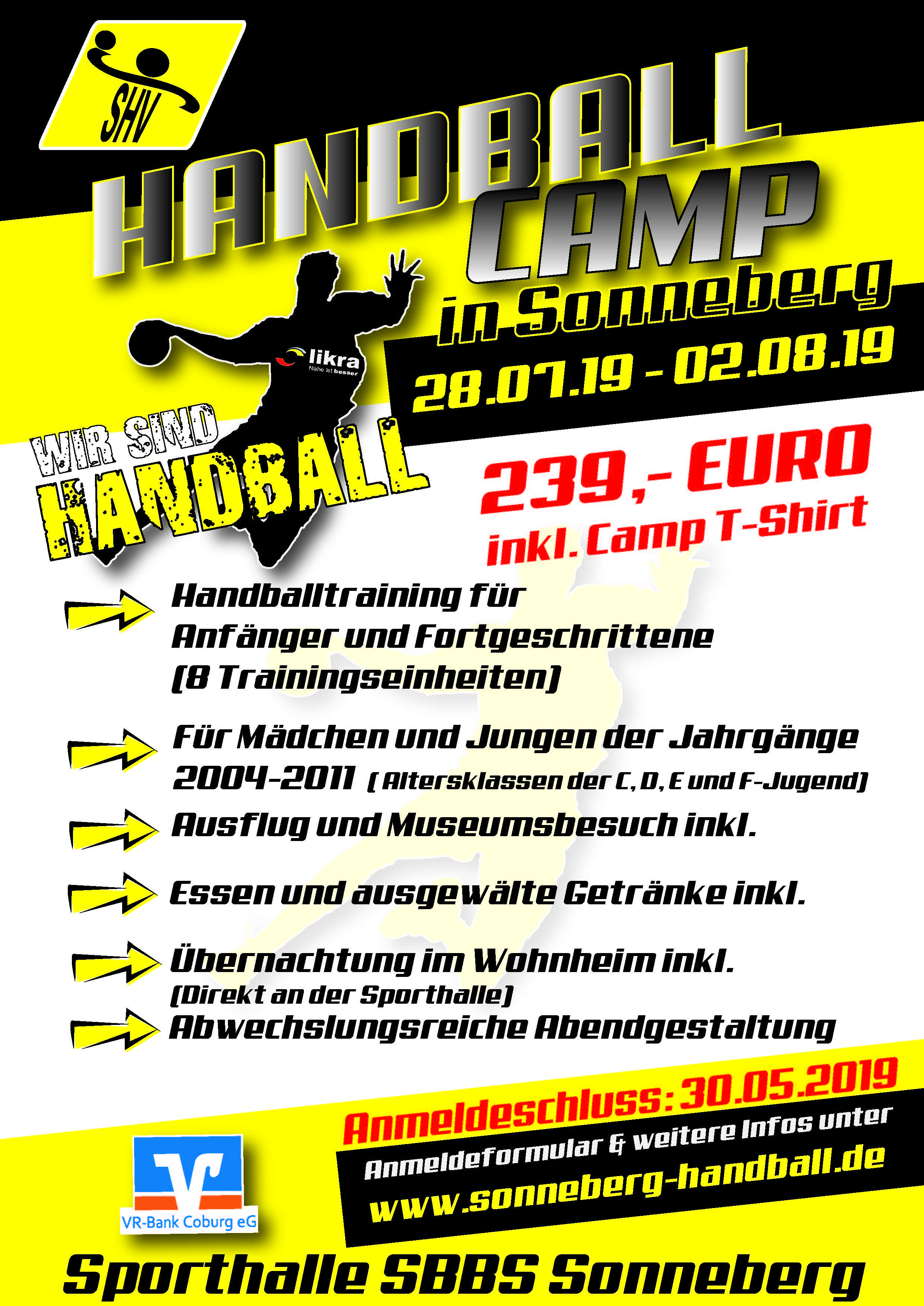 sonneberger handballverein handball camp 2019 flyer